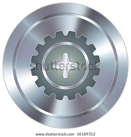 Gear or settings icon on round stainless steel modern industrial button - stock vector