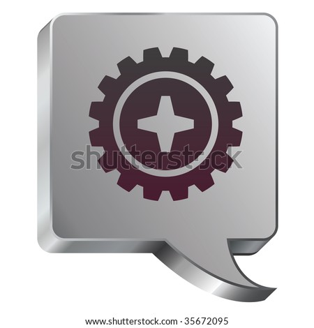Gear or settings icon on stainless steel modern industrial voice bubble icon suitable for use as a website accent, on promotional materials, or in advertisements. - stock vector