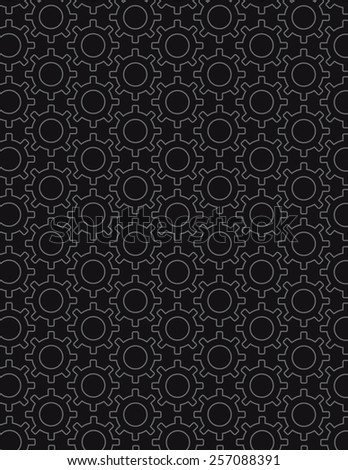Gear pattern arranged over solid black color background - stock vector