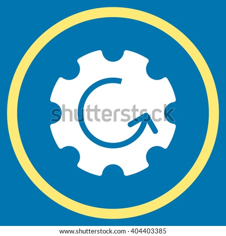 Gear Rotation vector bicolor icon. Image style is a flat icon symbol inside a circle, yellow and white colors, blue background. - stock vector
