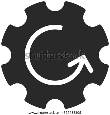 Gear Rotation vector icon. Image style is flat gear rotation pictogram drawn with gray color on a white background. - stock vector