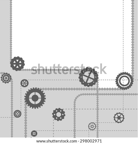 gear simple flat vector frame - illustration background of a steel mechanism - stock vector