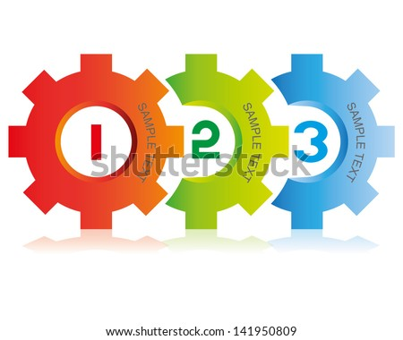 gear step process, diagram - stock vector