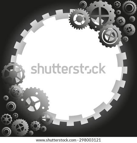 gear vector frame - illustration background of a steel mechanism - stock vector