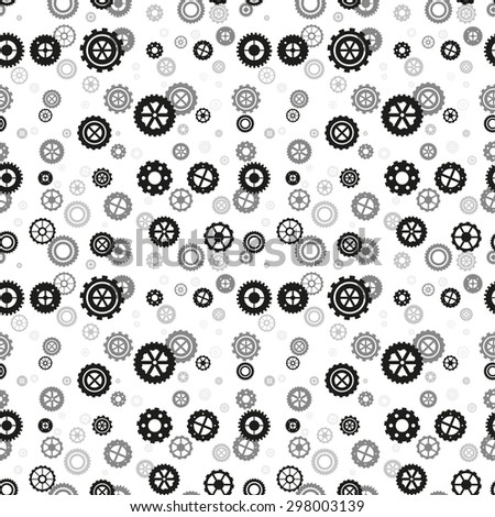 gear vector seamless pattern - illustration background of a steel mechanism - stock vector