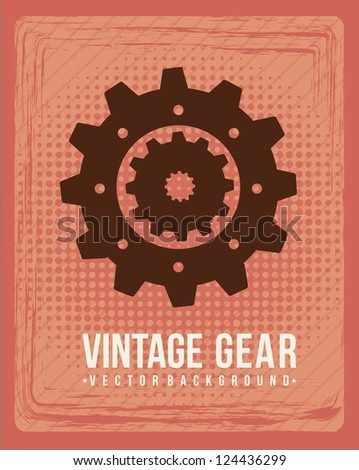 gear vintage over red background. vector illustration - stock vector