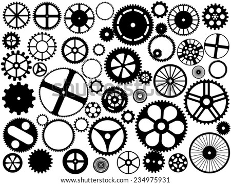 Gear wheel silhouettes  - stock vector
