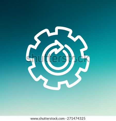 Gear wheel with arrow icon thin line for web and mobile, modern minimalistic flat design. Vector white icon on gradient mesh background. - stock vector