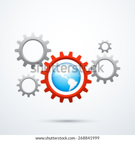 Gear Wheels and Earth - stock vector