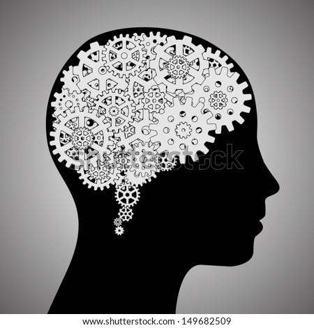 gear wheels forming a brain shape in the head.thinking concept - stock vector