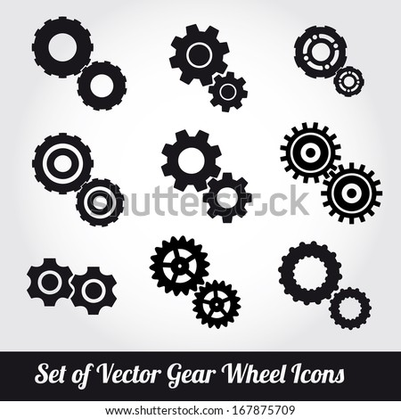 Gear wheels icons vector set  - stock vector
