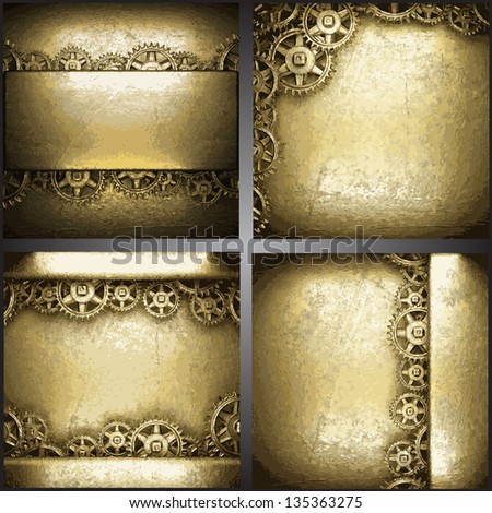 gear wheels on gold background set - stock vector