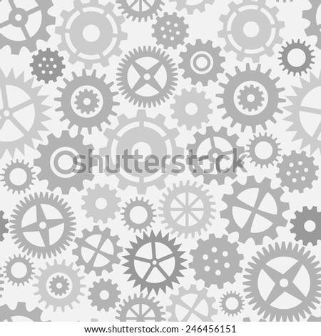 Gear wheels seamless pattern. Vector background in black and white
