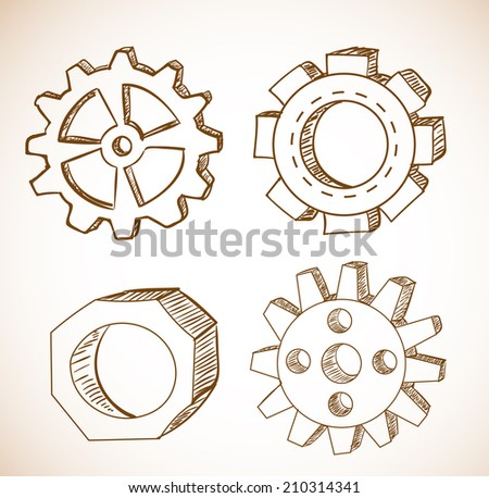 Gear wheels sketches in vintage style. Vector illustration. - stock vector