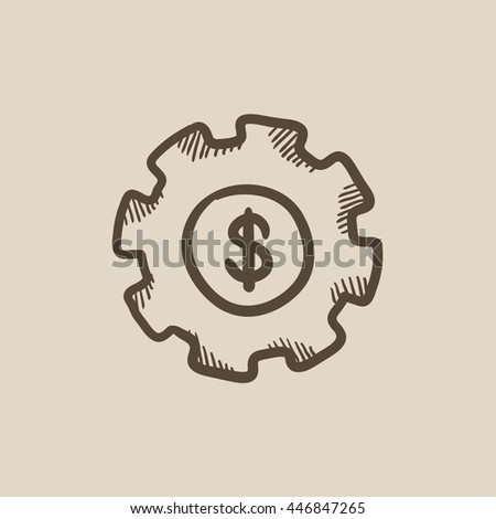 Gear with dollar sign vector sketch icon isolated on background. Hand drawn Gear with dollar sign icon. Gear with dollar sign sketch icon for infographic, website or app.