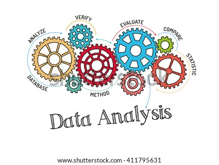 Gears and Data Analysis Mechanism - stock vector