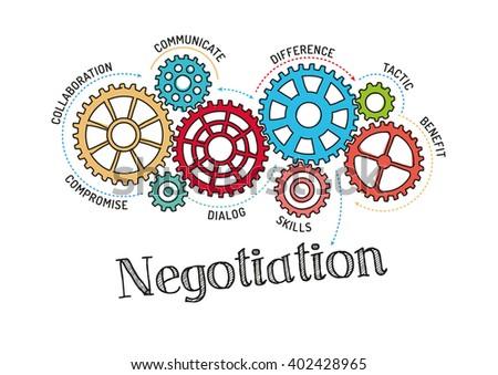 Gears and Negotiation Mechanism - stock vector
