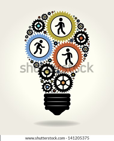 Gears and people icons form the shape of light bulbs. concept of effective teamwork. The file is saved in the version AI10 EPS. This image contains transparency. - stock vector