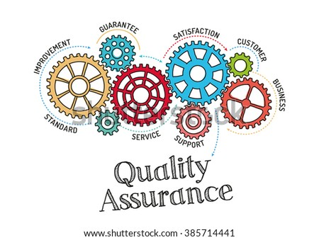 Gears and Quality Assurance Mechanism - stock vector