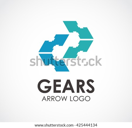 Gears Arrow Mechanical Abstract Vector Logo Stock Vector 2018