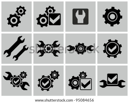 Gears as settings or configuration or preferences icons set. - stock vector