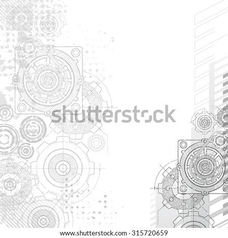 Gears Background. Under construction blueprint. - stock vector