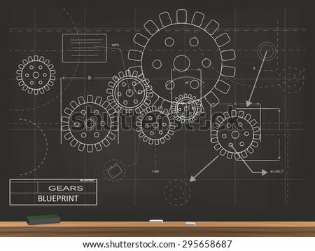 Gears blueprint chalkboard vector illustration stock vector gears blueprint chalkboard vector illustration malvernweather Images