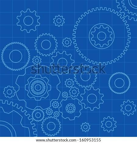 Gears Blueprint - Vector Illustration - stock vector