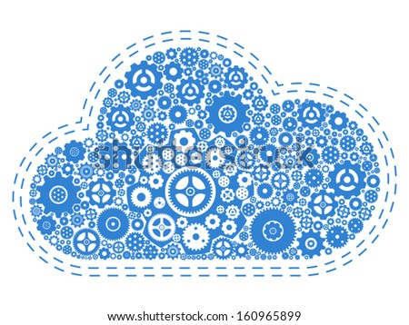 Gears Cloud Computing Concept - Vector Illustration - stock vector