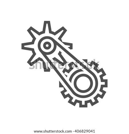 Gears, cogs icon suitable for info graphics, websites and print media and  interfaces. Line vector icon.