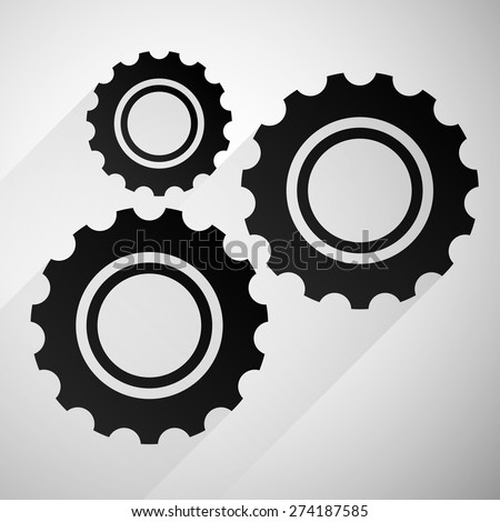 Gears, cogwheels icon, graphics for maintenance, repair, manufacturing and development concepts. - stock vector