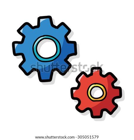 gears color doodle - stock vector