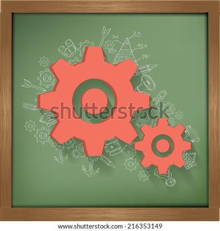 Gears design on blackboard background,clean vector - stock vector