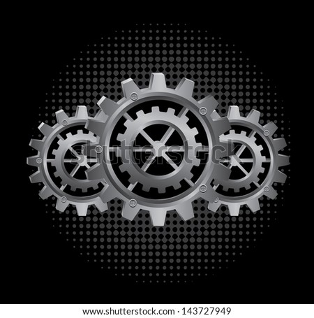 gears design over black background vector illustration - stock vector