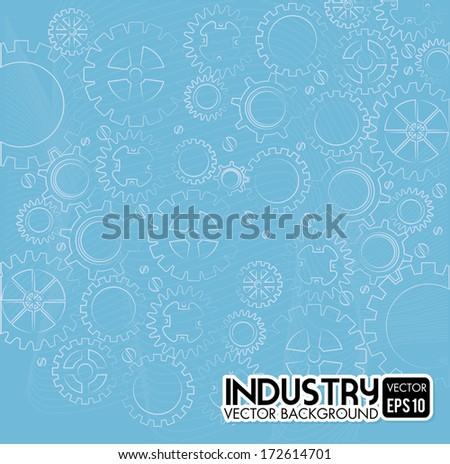 gears design over blue background vector illustration - stock vector