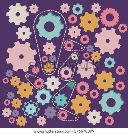 gears design over purple background vector illustration - stock vector