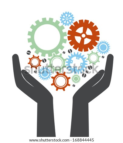 gears design over white background vector illustration - stock vector