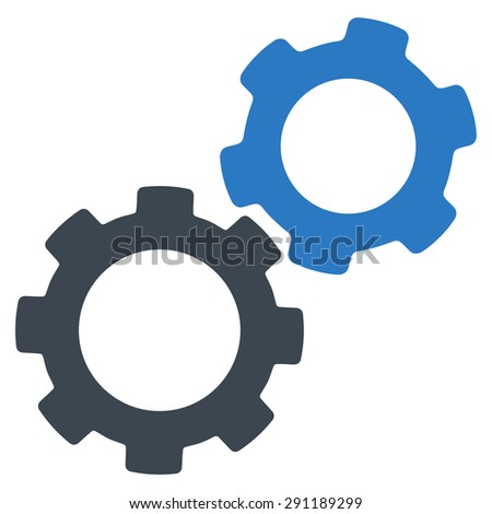 Gears icon from Commerce Set. Vector style: bicolor flat symbol, smooth blue colors, rounded angles, white background. - stock vector