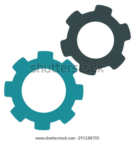 Gears icon from Commerce Set. Vector style: bicolor flat symbol, soft blue colors, rounded angles, white background. - stock vector