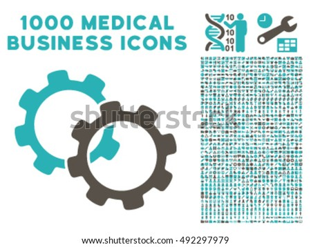 Gears icon with 1000 medical business grey and cyan vector pictograms. Set style is flat bicolor symbols, white background.