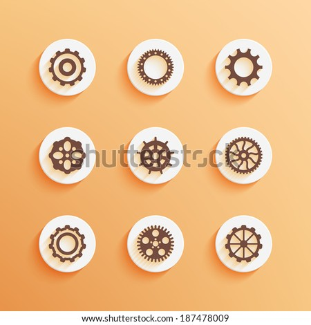 Gears icons set. Round buttons. Vector illustration EPS10. - stock vector