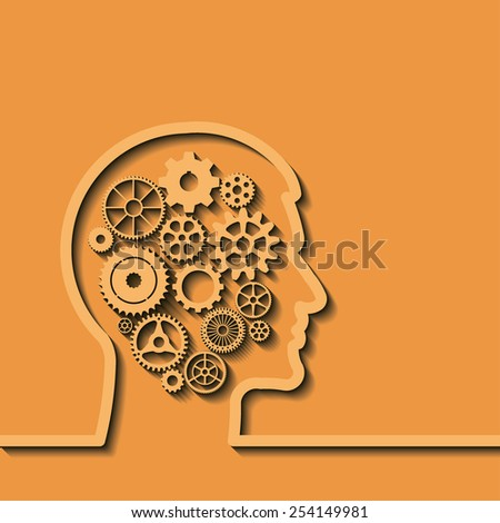 Gears in human head, idea, brain, silhouette. Thinking process, intelligence, future, memories,  problems. Vector illustration, you can simply change color - stock vector