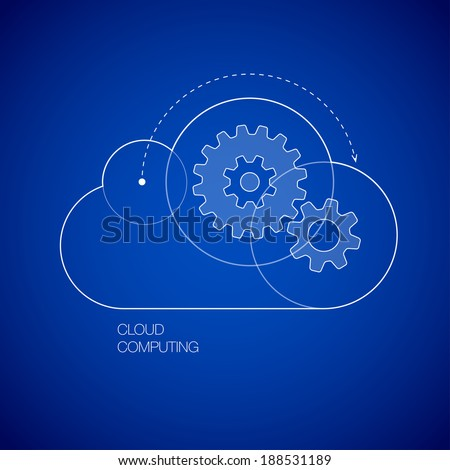 Gears in the cloud line icon vector illustration on topic of cloud computing, saas, internet technology, hosting, software, service, storage, network, back-up, access. Blue print style set of icons. - stock vector