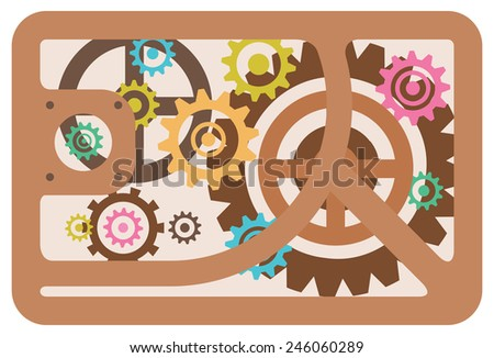 gears old mechanism steampunk style - stock vector