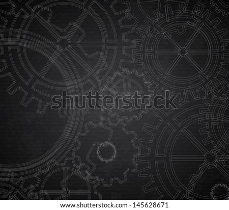 gears pattern over black background. Vector Illustration - stock vector