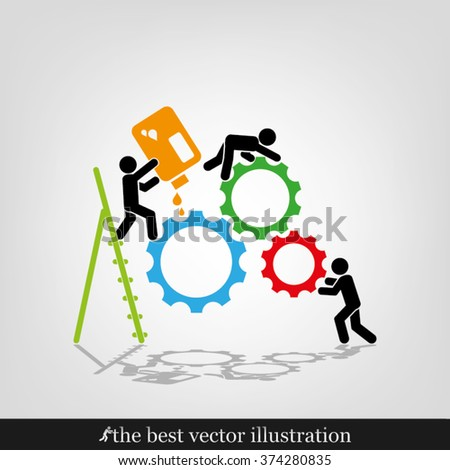 gears people icon vector illustration eps10. - stock vector