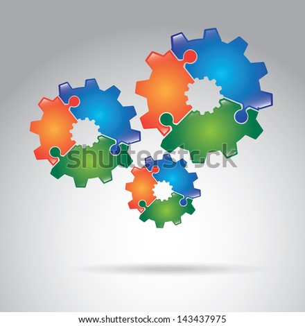 gears puzzle over gray background vector illustration - stock vector