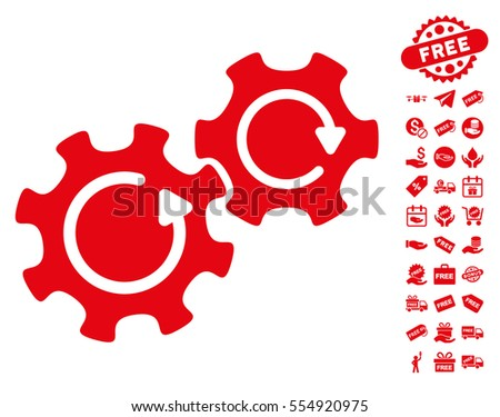 Gears Rotation icon with free bonus pictograph collection. Vector illustration style is flat iconic symbols, red color, white background.