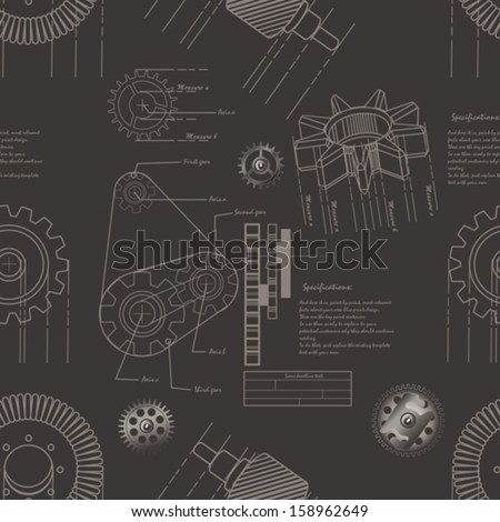 gears seamless pattern - stock vector