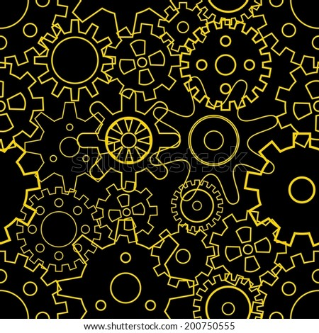 Gears, seamless pattern. Vector illustration